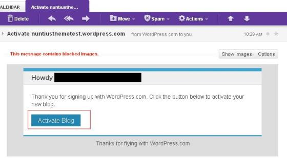 email activate blog - wordpress
