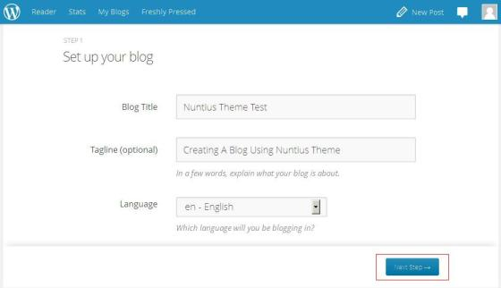 set up your blog - wordpress